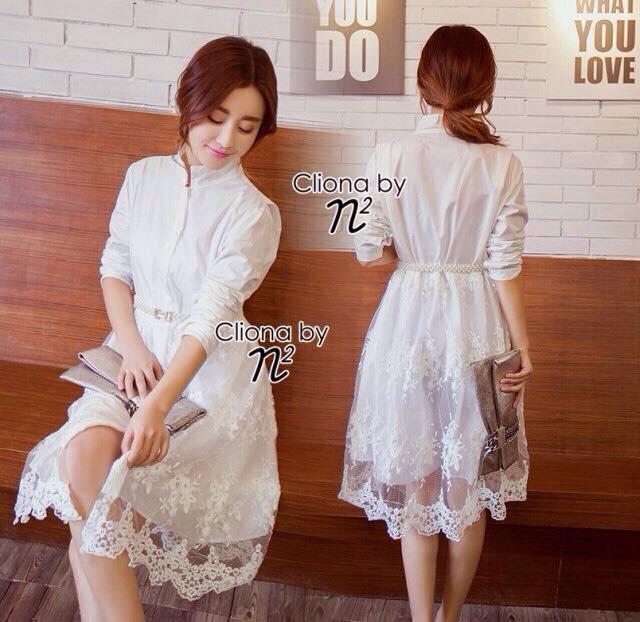 พร้อมส่ง Long shirt Dress เดรสเกาหลี