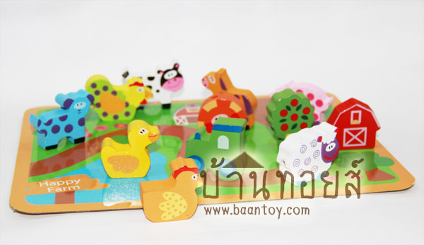 ของเล่นไม้เสริมพัฒนาการ ร้อยเชือกลูกปัดไม้ ฟาร์มสัตว์ 12 ชิ้น