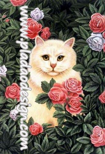 กระดาษสาพิมพ์ลาย สำหรับทำงาน เดคูพาจ Decoupage แนวภาพ แมวสีนวลนั่งอยู่ในดงกุหลาบชมพูไม่มีหนาม