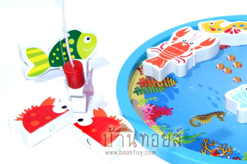 จิ๊กซอว์แม่เหล็กตกปลา เกมตกปลาแม่เหล็ก ของเล่นเสริมพัฒนาการ ของเล่นไม้ ของเล่นเด็กตกปลา