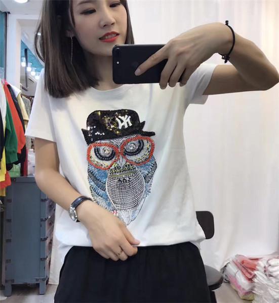 เสื้อยืดแขนสั้น ปักเลื่อมลายการ์ตูนนกฮูกตัวใหญ่ที่กลางเสื้อ มี 2 สี คือ ขาวและดำค่ะ