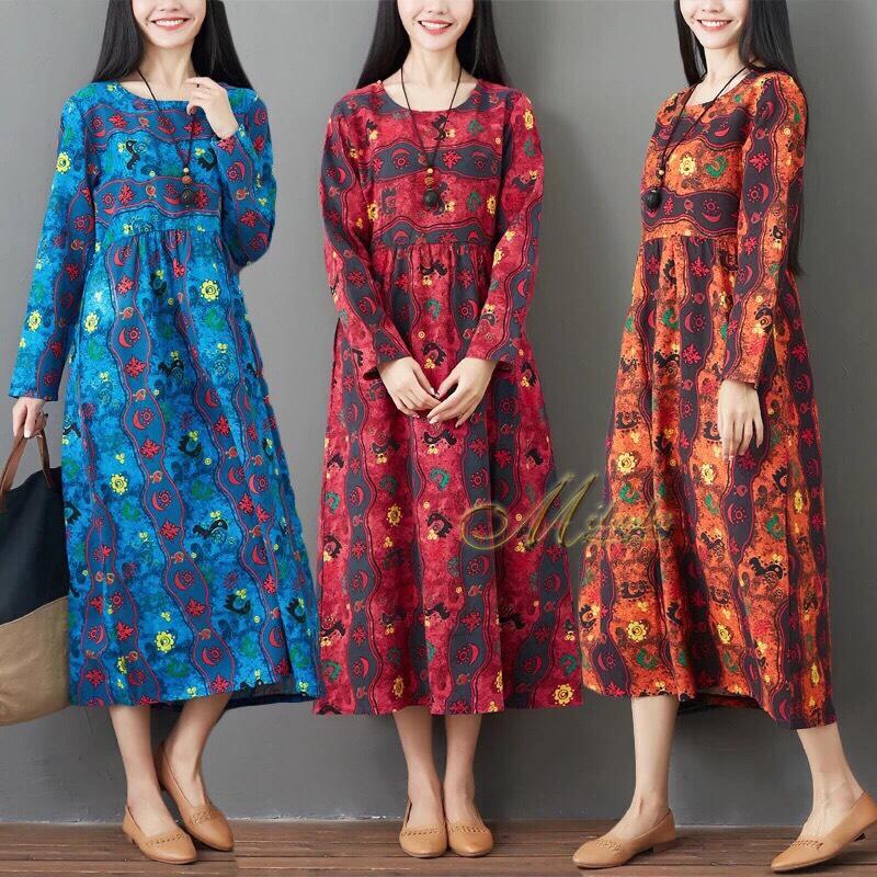 ชุดเดรสเกาหลี พร้อมส่ง Dress คอกลม ลายดอกไม้