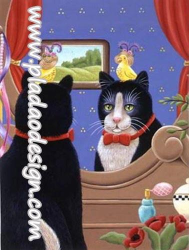 กระดาษสาพิมพ์ลาย สำหรับทำงาน เดคูพาจ Decoupage แนวภาพ แมวหนุ่มน้อยผูกหูกระต่ายแดงส่องกระจกดูความหล่อ