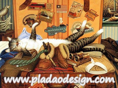 กระดาษสาพิมพ์ลาย สำหรับทำงาน เดคูพาจ Decoupage แนวภาำพ เจ้าแมวตัวดีนอนหงายเก๋งอยู่บนกระเป๋าเดินทางของเจ้านายนักเดินทางรอบโลก