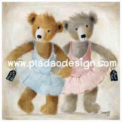 กระดาษสาพิมพ์ลาย rice paper เป็น กระดาษสา สำหรับทำงาน เดคูพาจ Decoupage แนวภาพ 2 หมี เท็ดดี้ แบร์ teddy bear สาวนักบัลเลต่ ลีลาเด็ด เด็ดแค่ไหนมาดูกันเอง (pladao design)