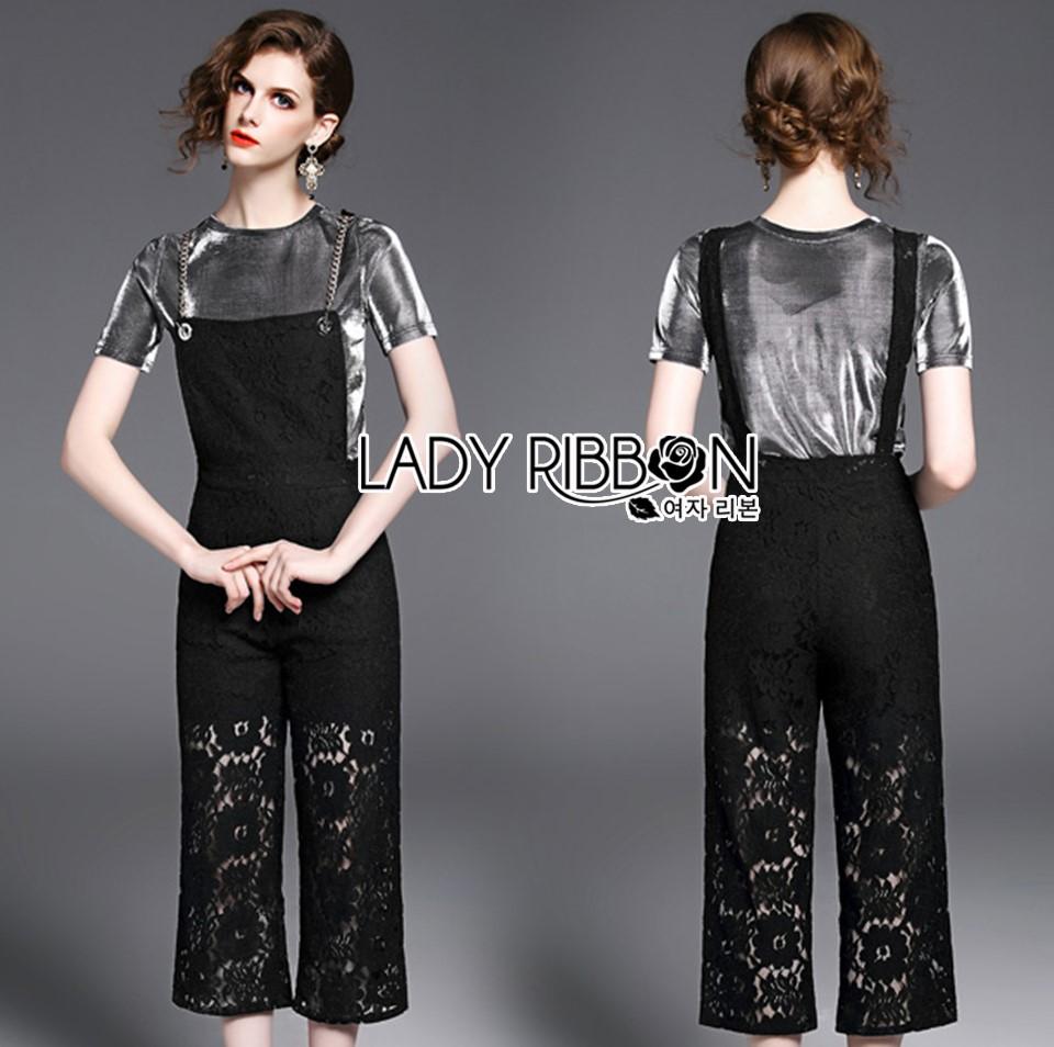 เสื้อผ้าเกาหลี พร้อมส่ง เสื้อสีเทาเข้มกับเอี๊ยมผ้าลูกไม้สีดำ