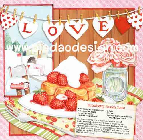 กระดาษสาพิมพ์ลาย สำหรับทำงาน เดคูพาจ Decoupage แนวภาำพ cooking kitchen วันนี้จัดทำ Strawberry french toast ลูกสตอร์เบอร์รี่สวยๆ (ปลาดาวดีไซน์)