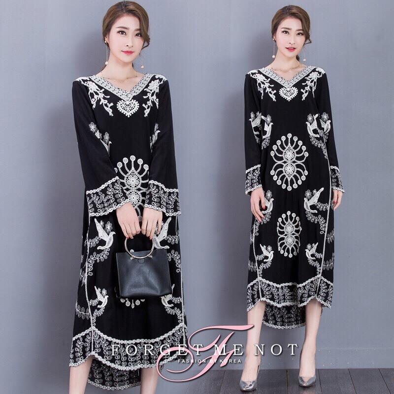 พร้อมส่ง Maxy Dress Bohimien Style คอวี