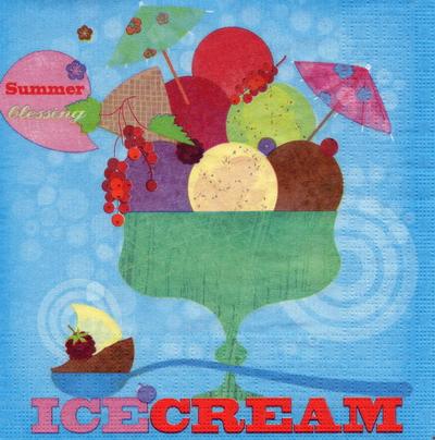 แนวภาพอาหาร ถ้วย Icd Cream สีเขียว ภาพโทนสีฟ้า เป็นภาพ 4 บล๊อค กระดาษแนพกิ้นสำหรับทำงาน เดคูพาจ Decoupage Paper Napkins ขนาด 33X33cm