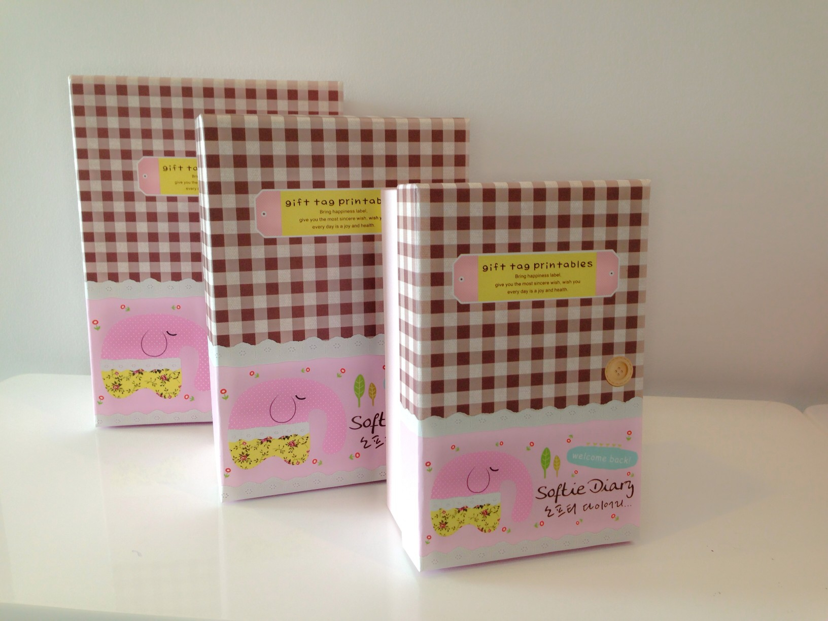 Gift Box Set 3 pieces: Pink Elephant