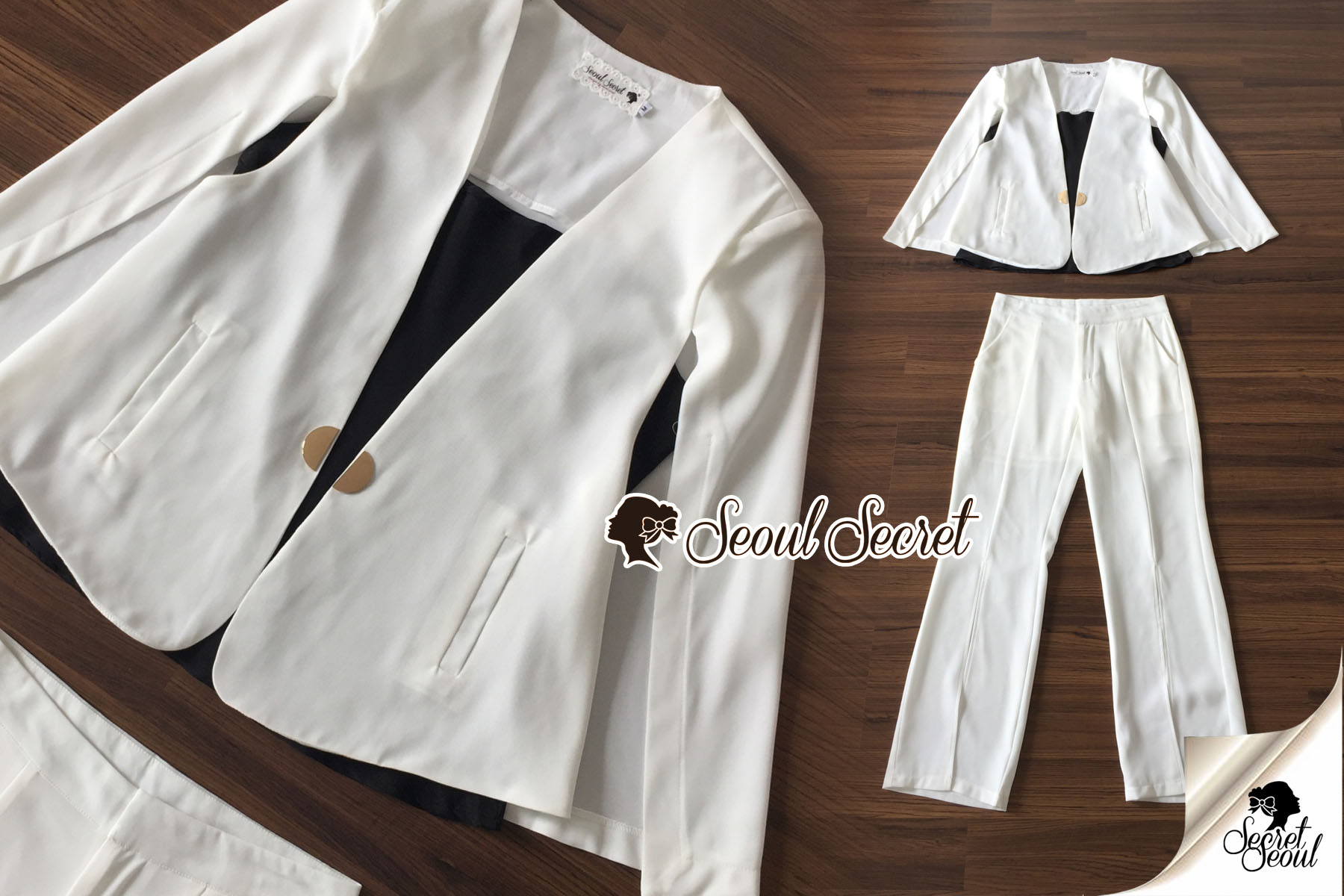 เสื้อผ้าเกาหลี พร้อมส่ง เสือคลุมกับกางเกงขายาว