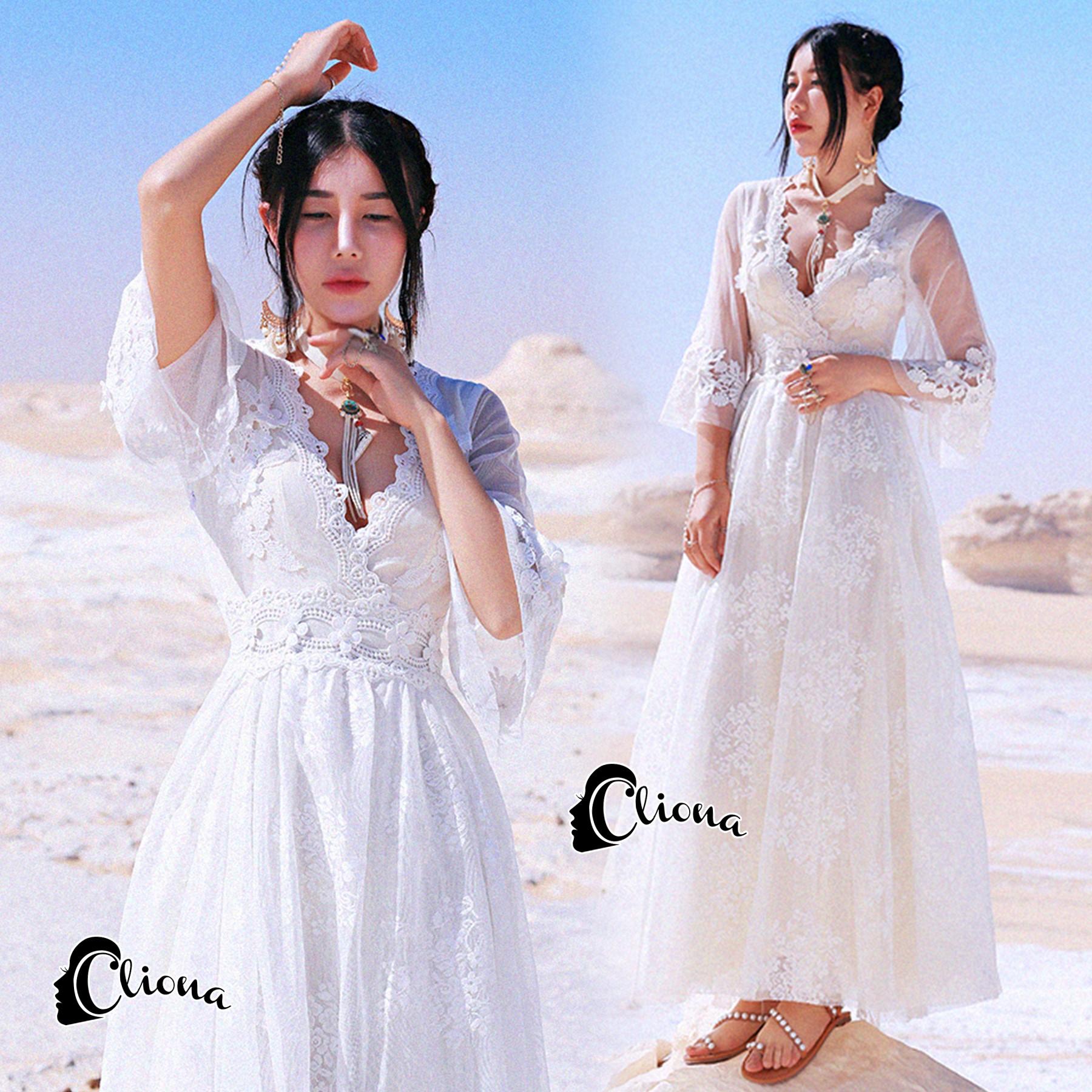 พร้อมส่ง long dress สีขาวคอวี แขน 5 ส่วน