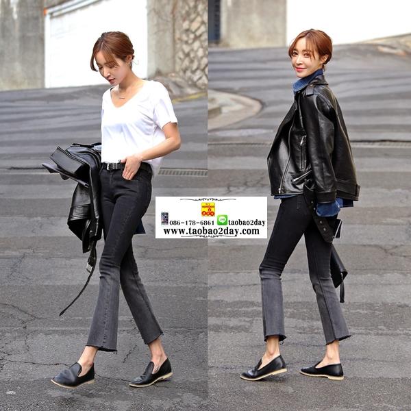 กางเกงยีนส์ยีดไล่สีดำเทา แนวได้ใจมากๆค่ะ