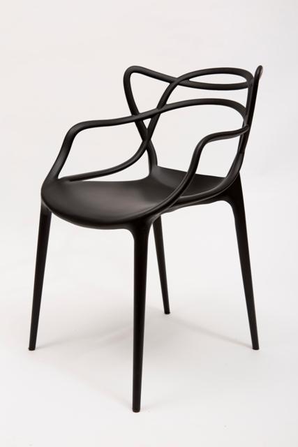 เก้าอี้พลาสติก สีดำ มีสไตล์ ดีไซน์เก๋ สำหรับแต่งร้านกาแฟ คาเฟ่