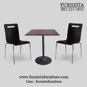 ชุดโต๊ะอาหารขาแชมเปญพร้อมเก้าอี้ดีไซน์สีดำ 2 ที่นั่ง (20 ชุดขึ้นไป)