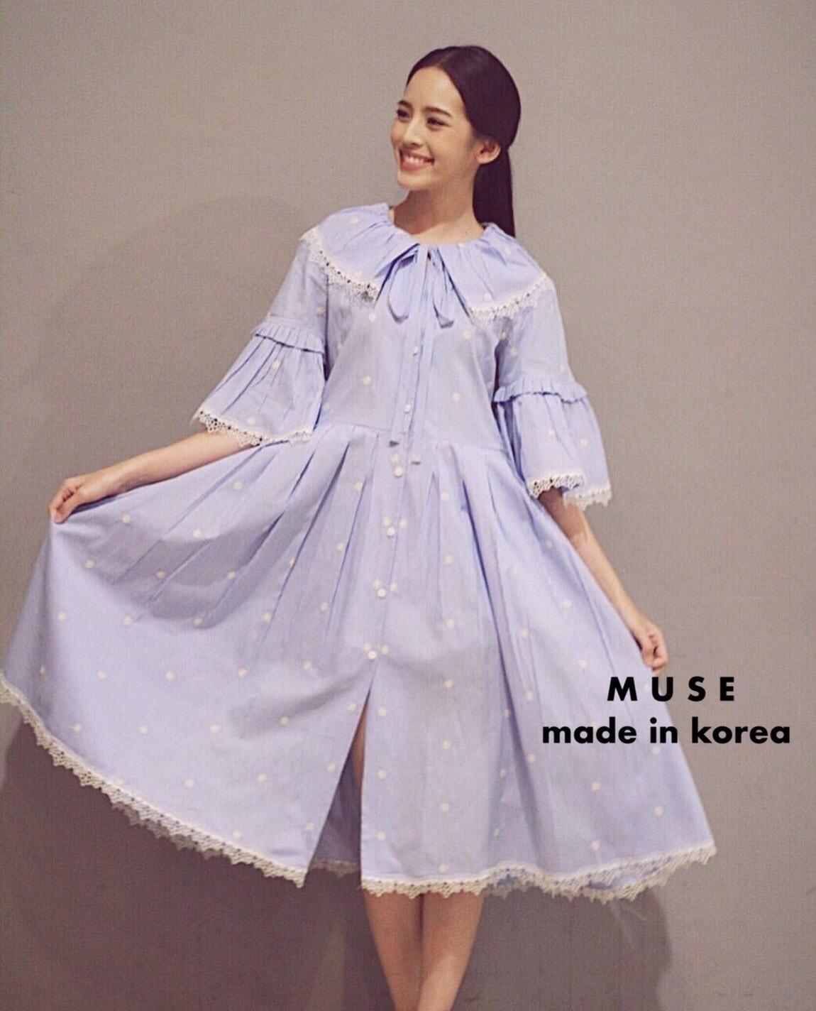 เดรสเกาหลีพร้อมส่ง เดรสแขนสีฟ้าระบาย