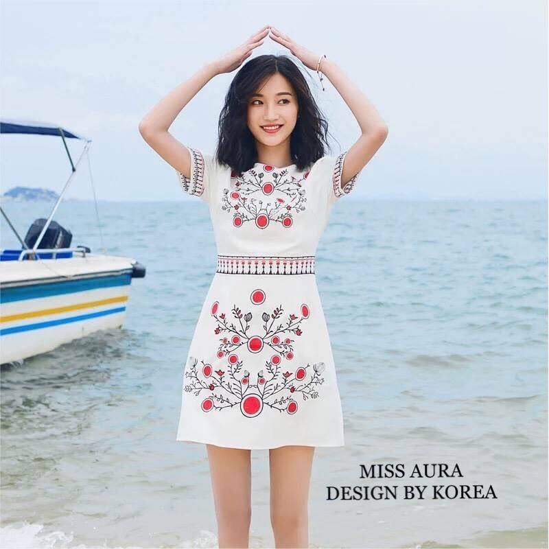 เดรสเกาหลี พร้อมส่ง Maxi Dress เดรสเกาหลี งานปัก