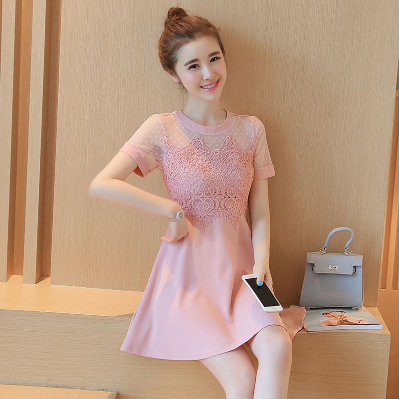 กระโปรงลูกไม้ใหม่เกาหลีผู้หญิงผ้ากอซแขนสั้นชุดลูกไม้