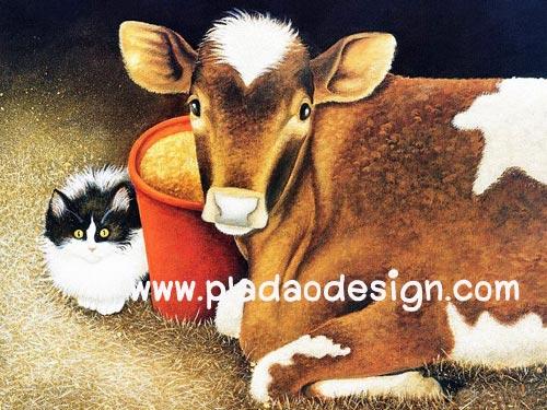 กระดาษสาพิมพ์ลาย สำหรับทำงาน เดคูพาจ Decoupage แนวภาพ แมวขนฟู นั่งแอบด้านหลังแม่วัวตัวใหญ่