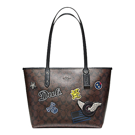 0ea0927fae0cb COACH F11800 CITY ZIP TOTE IN SIGNATURE COATED CANVAS WITH VARSITY PATCHES  (Brown/Black)