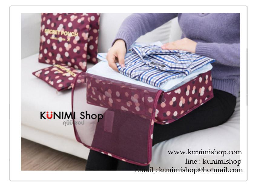 กระเป๋าจัดเก็บสิ่งของ ช่วยให้กระเป๋าเดินทางเป็นระเบียบ กระเป๋าซิบเปิด-ปิด มีที่ถือ สะดวกในการใช้งาน และยังสามารถแยกหมวดของใช้ ทำให้หาง่าย จะแยกใช้ หรือจะนำกระเป๋าใบเล็กมาใส่ซ้อนใบใหญ่ก็ได้คะ 1ชุด มี 6 ชิ้น Size L (แบบกระเป๋าถือ) กว้าง 30 x ยาว 40 x สูง 12 cm. Size M (แบบกระเป๋าถือ) กว้าง 27 x ยาว 30 x สูง 12 cm. Size S (แบบกระเป๋าถือ) กว้าง 20 x ยาว 30 x สูง 12 cm. Size L (แบบถุง) กว้าง 28 x ยาว 36 cm. Size M (แบบถุง) กว้าง 26 x ยาว 28 cm. Size S (แบบถุง) กว้าง 17 x ยาว 26 cm.