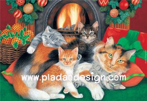 กระดาษสาพิมพ์ลาย สำหรับทำงาน เดคูพาจ Decoupage แนวภาพ แม่แมว 1 กับลูกแมว 4 นอนกอดกันเพื่อไออุ่นใกล้เตาผิง