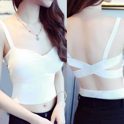 WG055 เสื้อกล้าม เสื้อซับใน สายเดี่ยวหนา มีฟองน้ำซับใน ด้านหน้าดีไซด์ สายยางยืด สวยเก๋ มี 2 สี สีขาว สีดำ