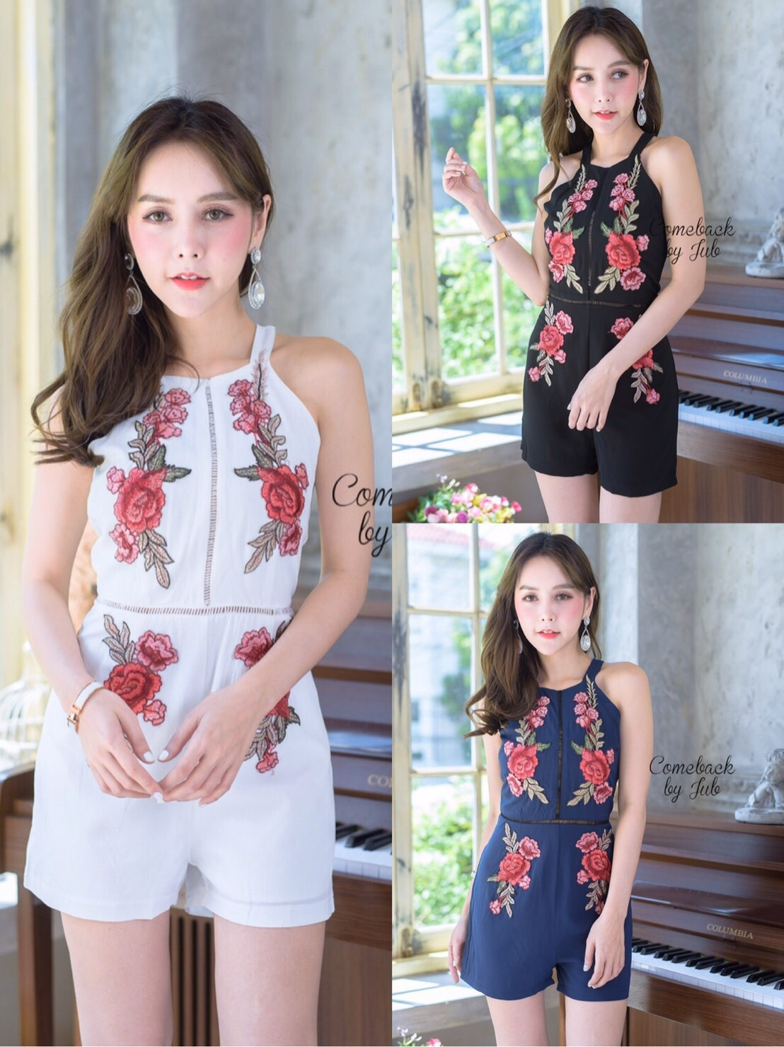 เสื้อผ้าแฟชั่นเกาหลี จั้มสูทปักดอกกุหลาบ พร้อมส่ง