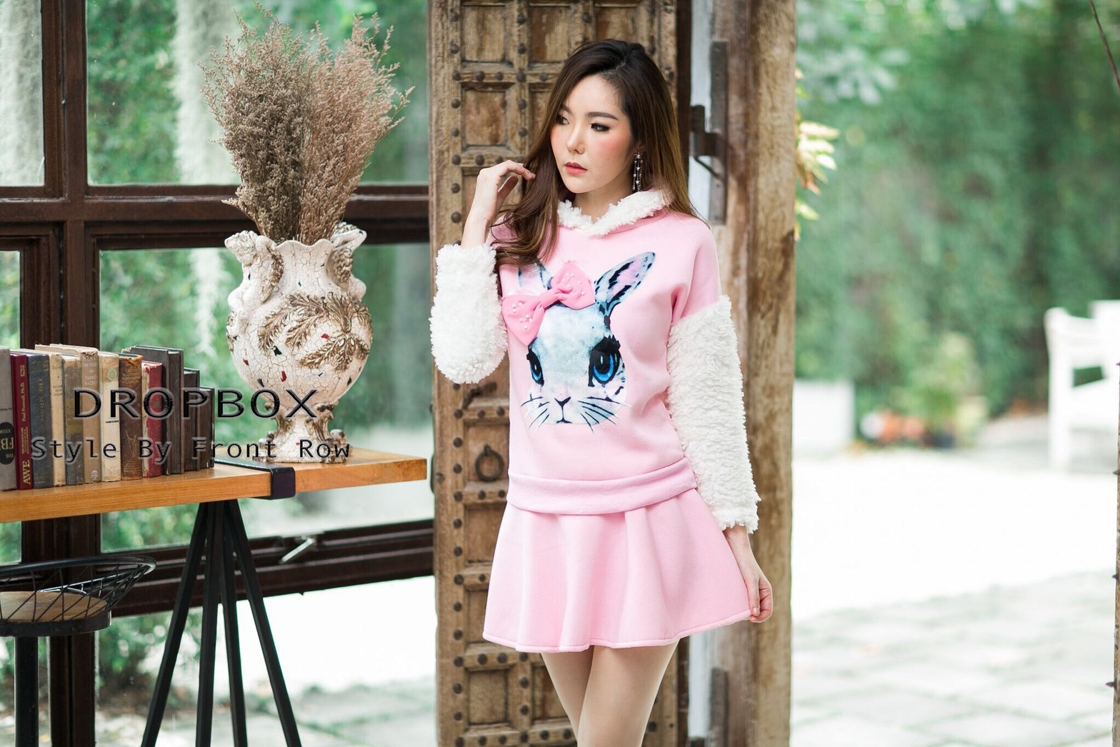 เสื้อเกาหลี พร้อมส่ง จั้มเปอร์ฮู้ด ลายกระต่าย