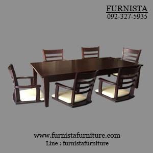 ชุดโต๊ะญี่ปุ่นพร้อมเก้าอี้ 6 ที่นั่ง สำหรับร้านอาหาร ร้านกาแฟ (VK-SET6)