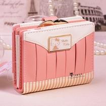 Hello Kitty กระเป๋าสตางค์กระเป๋าสต่างแบบสั้น-ชมพู