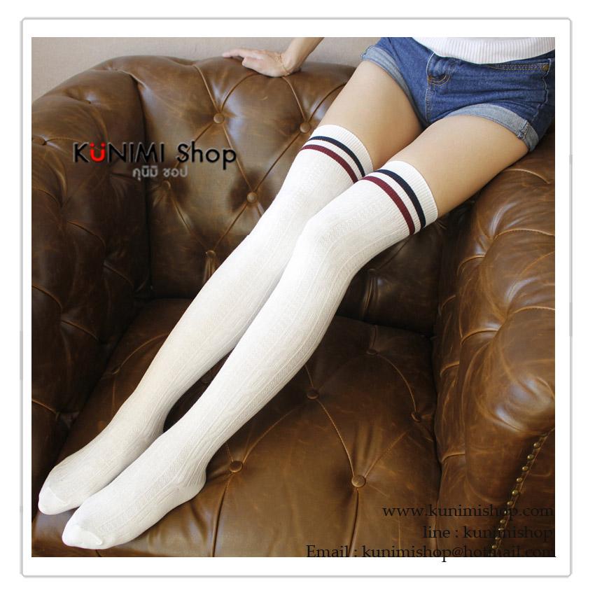 WL023 ถุงเท้ายาว ครึ่งน่องบน มี 3 สี สีครีม สีดำ สีแดงเลือดหมู