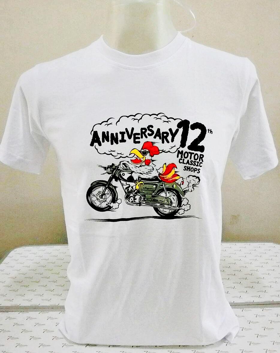 เสื้อ Motor Classic Shops ครบรอบ 12 ปี ลายไก่ Suzuki สีขาว Size 2XL