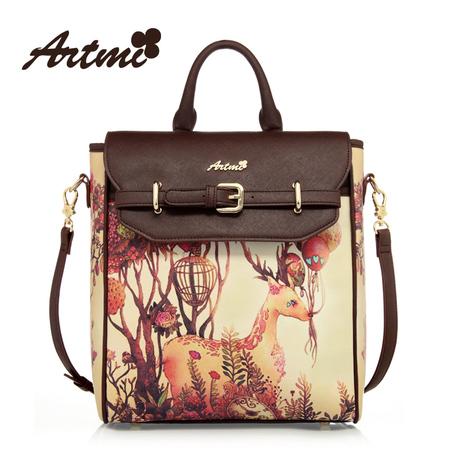 Artmi กระเป๋าถือแฟชั่นพิมพ์ลายการ์ตูน ลวดลายทันสมัย สไตล์วินเทจ
