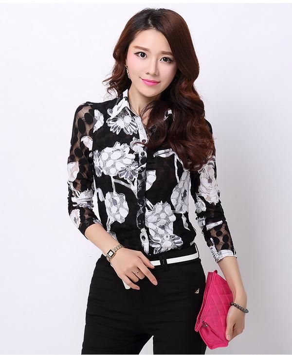 Pre-order เสื้อเชิ้ตชีฟองซีทรู แขนยาว เสื้อทำงาน พิมพ์ลายดอกไม้สีขาว ดอกใหญ่ แฟชั่นสไตล์เกาหลี