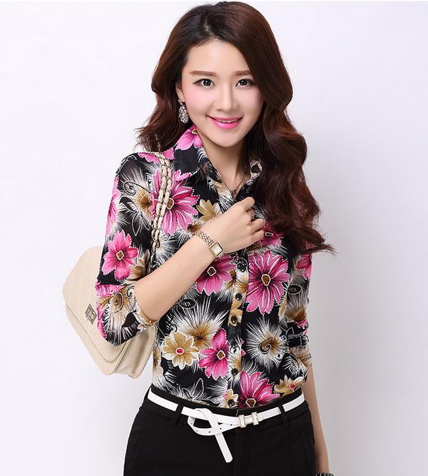 Pre-order เสื้อเชิ้ตผ้าฝ้าย แขนยาว เสื้อทำงาน พิมพ์ลายดอกไม้สีชมพู-ดำ แฟชั่นสไตล์เกาหลี