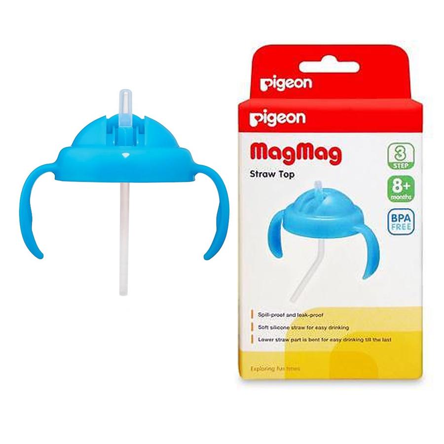 พีเจ้น Pigeon ชุดหลอดดูดพร้อมหูจับ สีฟ้า สำหรับถ้วยหัดดื่ม Magmag Step 3