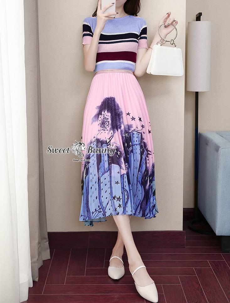 ชุดเซทแฟชั่น ชุดเซ็ทไหม+กระโปรงงานเกาหลี เสื้อผ้าไหมเนื้อนุ่ม กระโปรงผ้าสีชมพูสวยหวานพิมพ์ลายสวย
