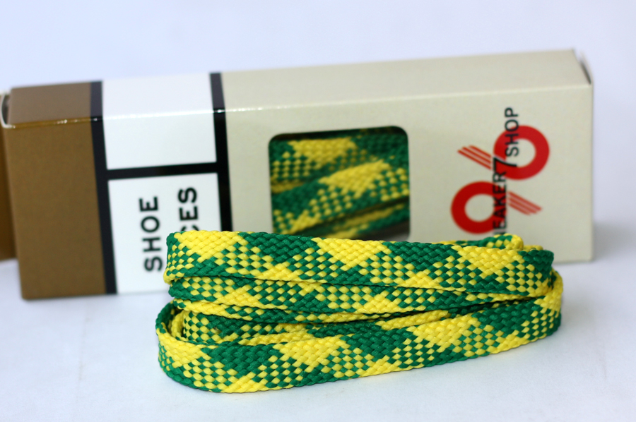 สายเชือกรองเท้า ถักแบน เหลือง-เขียว เหมาะสำหรับ Converse, Vans, NB, อื่นๆ ยาว 110 CM (2 เส้น)