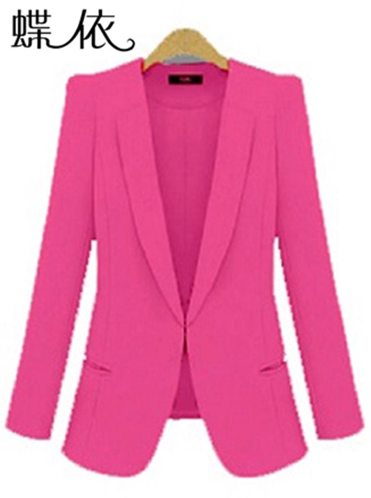 Pre-Order เสื้อสูททำงานแขนยาว เสื้อสูทผู้หญิง สูทลำลอง สีชมพู แฟชั่นชุดทำงานสไตล์เกาหลี