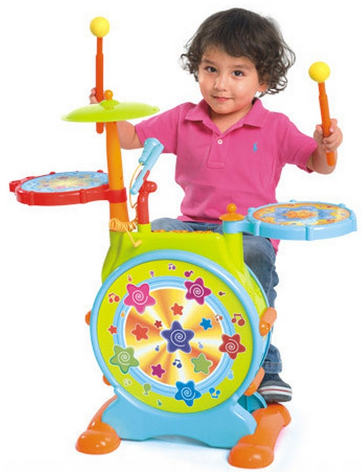 HuileToys Melodious Jass Drum กลองชุดแบบมีเสียงดนตรีและเสียงเอฟเฟ็ค