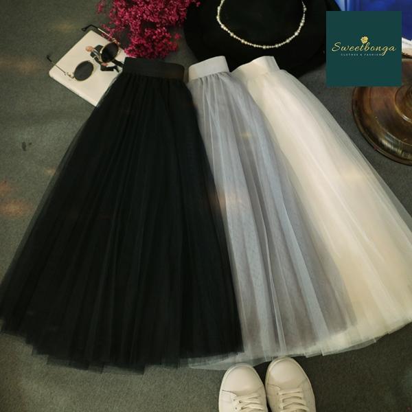 กระโปรงยาวแฟชั่น กระโปรงทรงเอ กระโปรง tutu ผู้ใหญ่ Princess tutu skirt ผ้าตาข่าย 2 ชั้น กระโปรงออกงาน