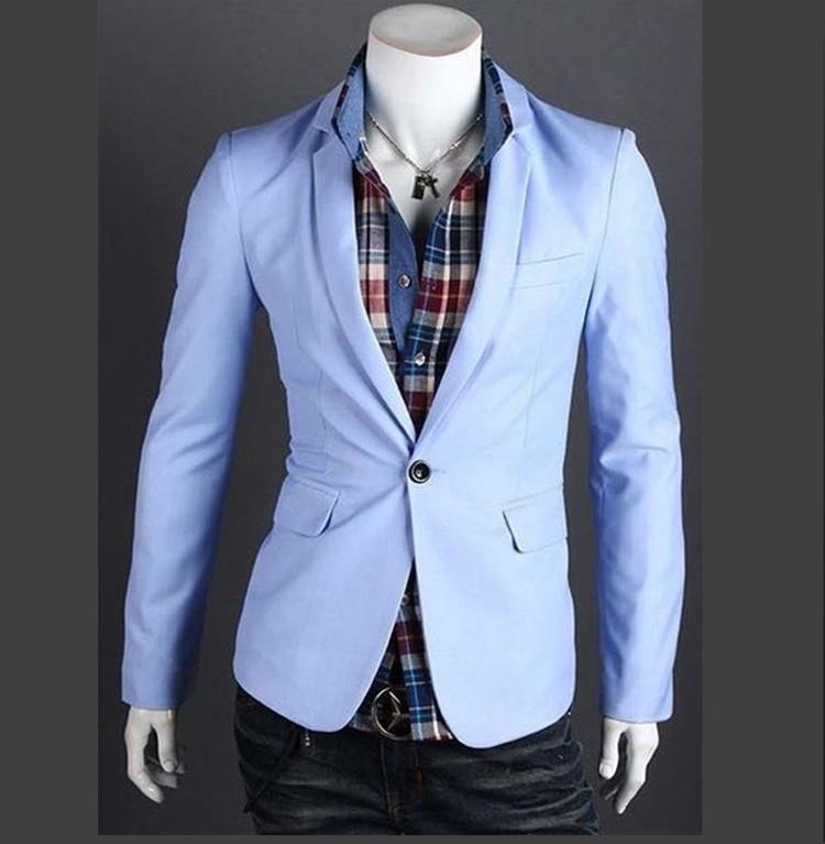 Pre-Order เสื้อสูท สูทลำลอง สูทบาง สูทเบลเซอร์ลำลอง แขนยาว ผ้าฝ้ายผสม สีฟ้า