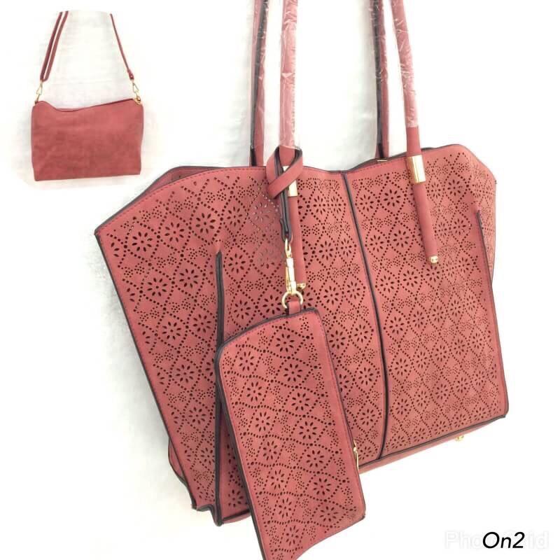 Korea shopping bag งานฉลุหนังรอบใบ