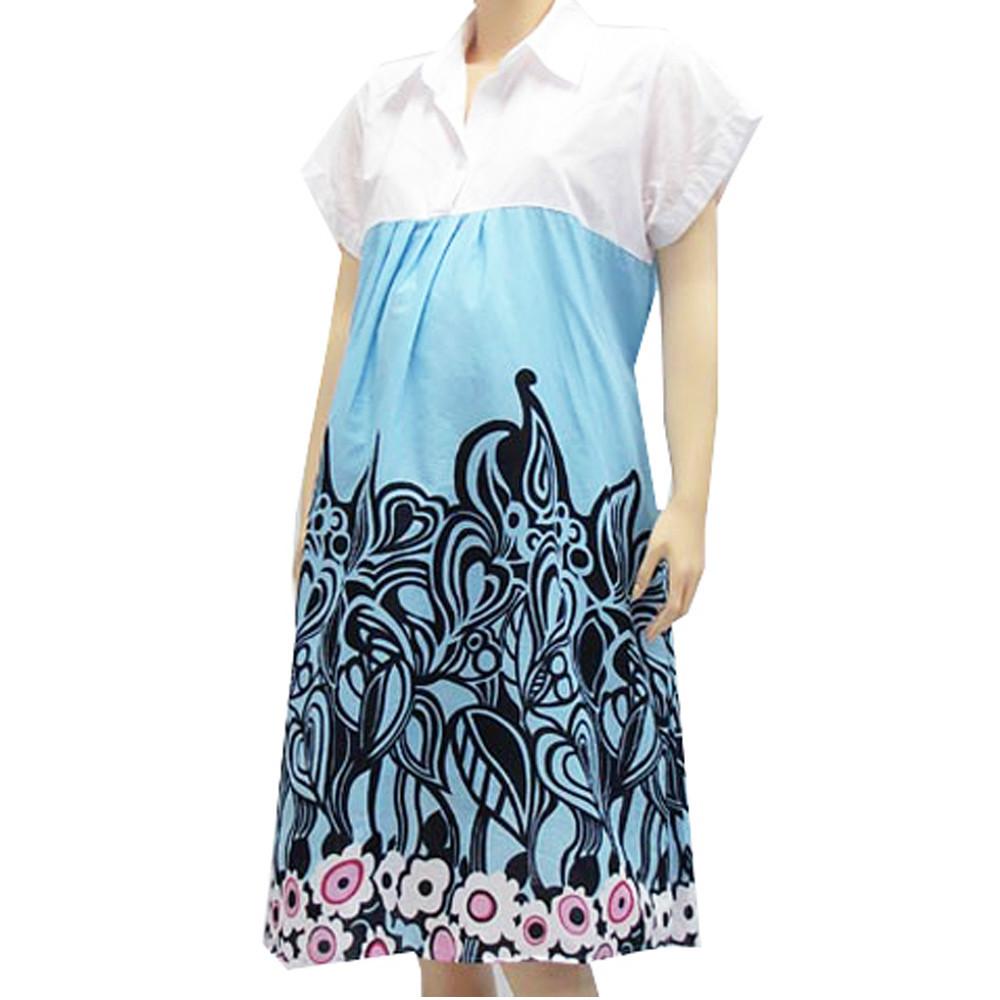 ชุดเดรส ชุดคลุมท้อง เสื้อผ้าสำหรับคุณแม่ สีฟ้า ใส่สบาย ไม่ร้อน