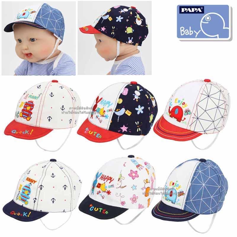 หมวกแก๊ปเด็กมีสายรัดคาง (Size M) PAPA