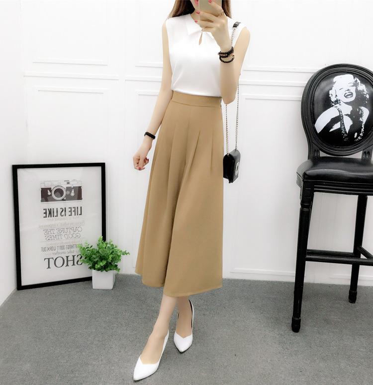 กางเกงแฟชั่น 5 ส่วนเอวยางยืดขาบาน สีกากี พริ้วสวยหวานสไตล์เกาหลี
