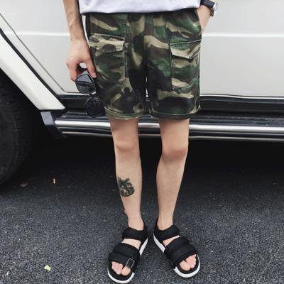 กางเกงขาสั้นเกาหลี ลายพรางทหาร แต่งกระเป๋ากางเกง มี2สี