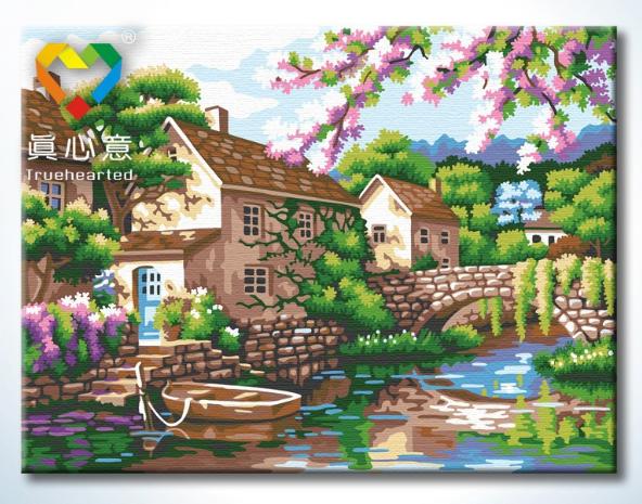 รหัส HB3040152 ภาพระบายสีตามตัวเลข Paint by Number แบบ Beautiful villages ขนาด30x40cm/พร้อมส่ง