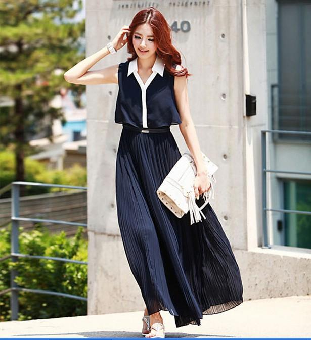 Sai Na *พร้อมส่ง* ชุดเดรสเกาหลีแขนกุดสีน้ำเงินผ้าชีฟองแต่งปกสีขาวติดกระดุมหน้ากระโปรงอัดพลีทติดยางยืดเอว (M,L)